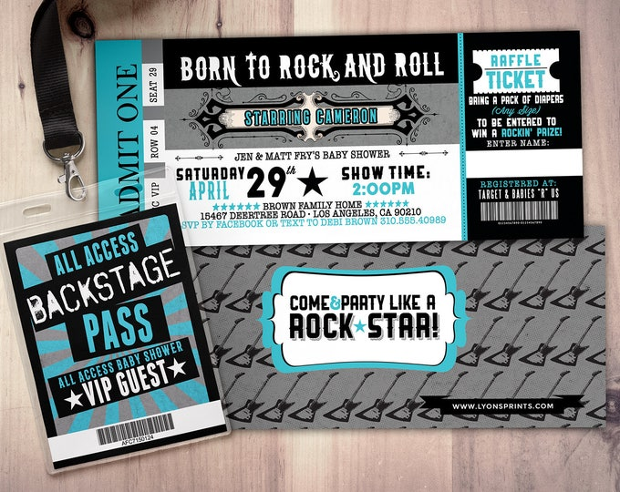 ROCK STAR concert ticket baby shower invitation-Coed baby shower invitation- Rock baby shower invitation- couples baby shower - music