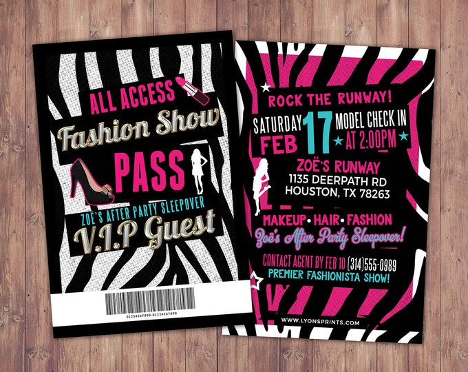 Rock the Runway, ticket birthday party invitation- popstar invitation-  rockstar party, fashion birthday, zebra print, high fashion, runway