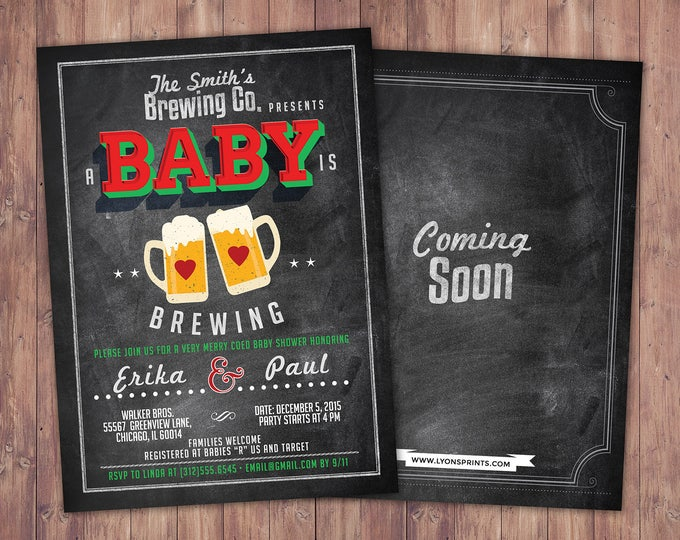 Baby is brewing, Coed baby shower invitation- Beer baby shower invitation- couples baby shower - holiday shower, Christmas, holiday baby