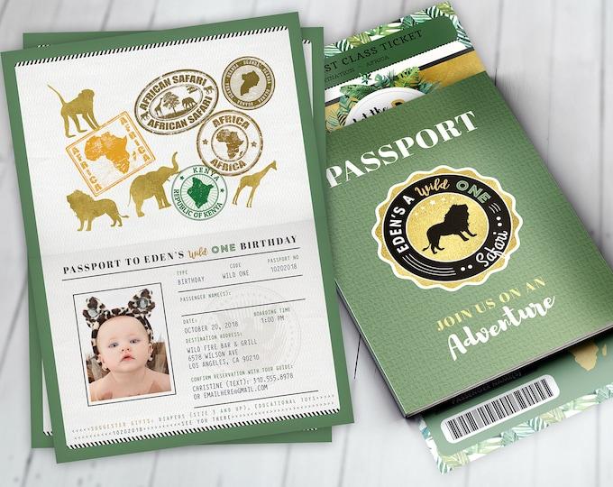 Passport invitation, Jungle Invitation, Jungle invite, Safari invitation, Safari Invite, Watercolors, Wild One, Elephant, Lion,