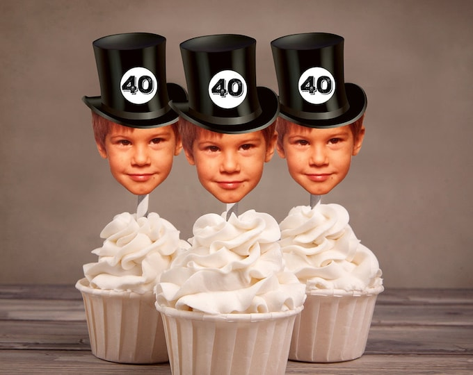 Digital Photo Cupcake Toppers, cheers and beers, 30th,40th,50th,60,75, birthday,Surprise Birthday Party, adult birthday, cheers, decor