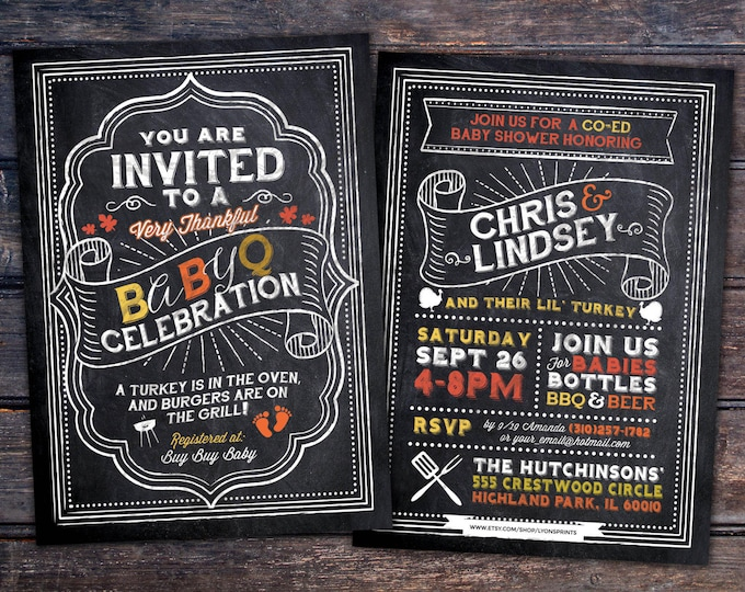 BabyQ chalkboard couples co-ed Baby Shower BBQ invitation - babyq - boy girl gender neutral - baby is brewing, baby boy, Holiday shower,