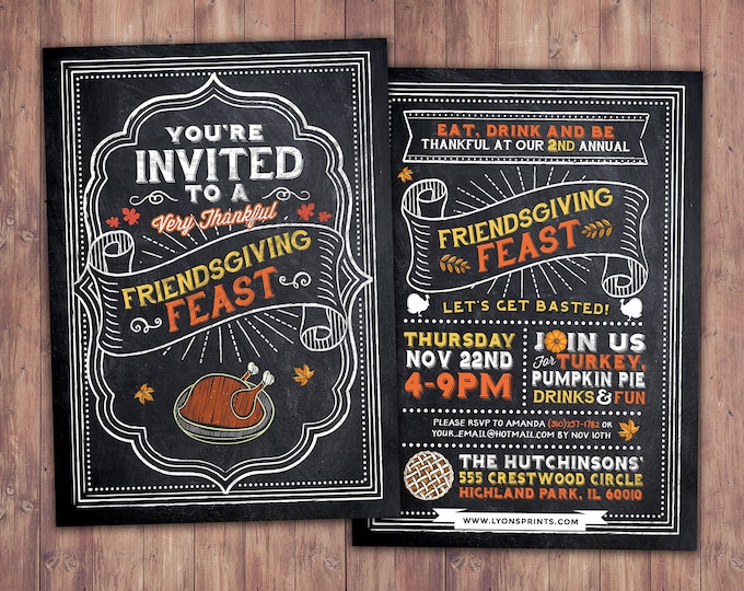 Friendsgiving Invitation Printable, Friendsgiving Party, Potluck, Friendsgiving Dinner Party, Thanksgiving Dinner Party Invitation, chalk