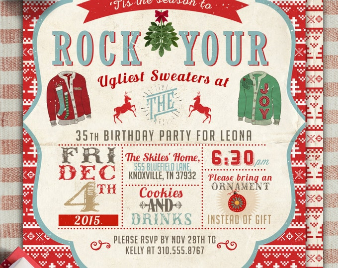 Ugly sweater party, Christmas, Holiday party invitation, Christmas invitation, holidays, Christmas party, cookie exchange, invite, santa,
