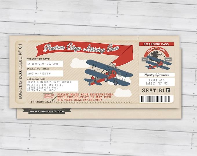 Precious Cargo Invitation, Baby Shower Invitation • Baby Shower, vintage airplane invitation, boy baby shower