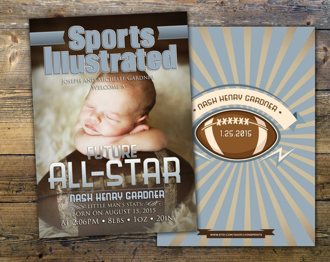 Sports MAGAZINE theme birth announcement, baby boy, football, baby shower, sports, athlete,champion