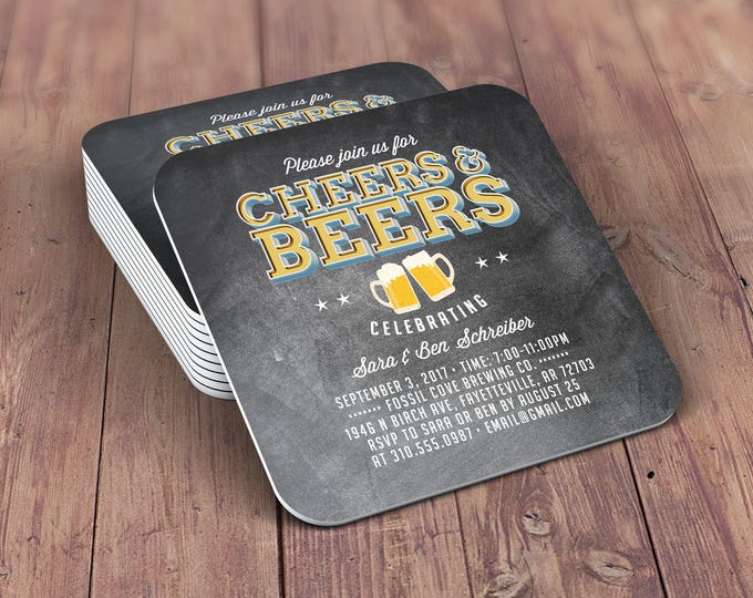Digital logo file, brews before the I do's , Coed wedding shower invitation- Beer- Cheers & Beers  -  BBQ, bridal shower, wedding, coaster