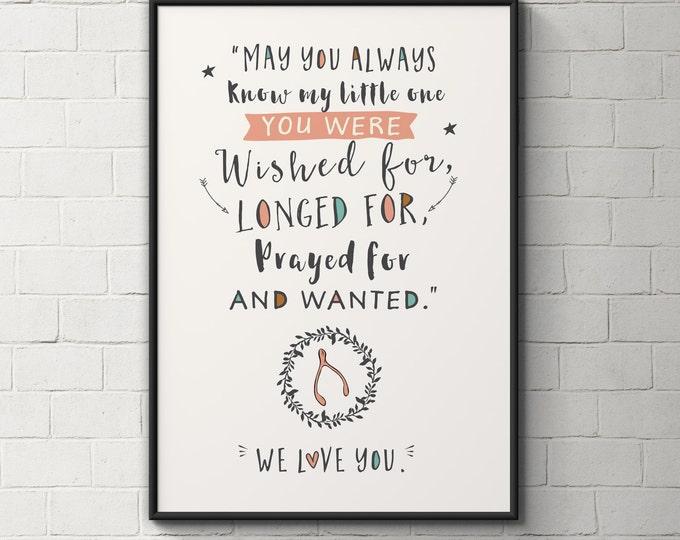 Quote, Wishbone, nursery wall art, baby girl art, instant download, printable art, boho nursery art, nursery decor, typography