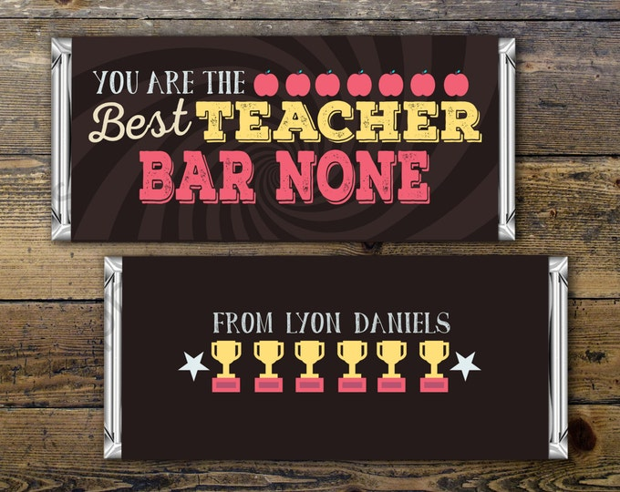 Teacher Appreciation Candy Bar Wrapper Covers, Teacher Chocolate Bar Gift Candy Wrappers , teacher appreciation gift, thank you, Digital