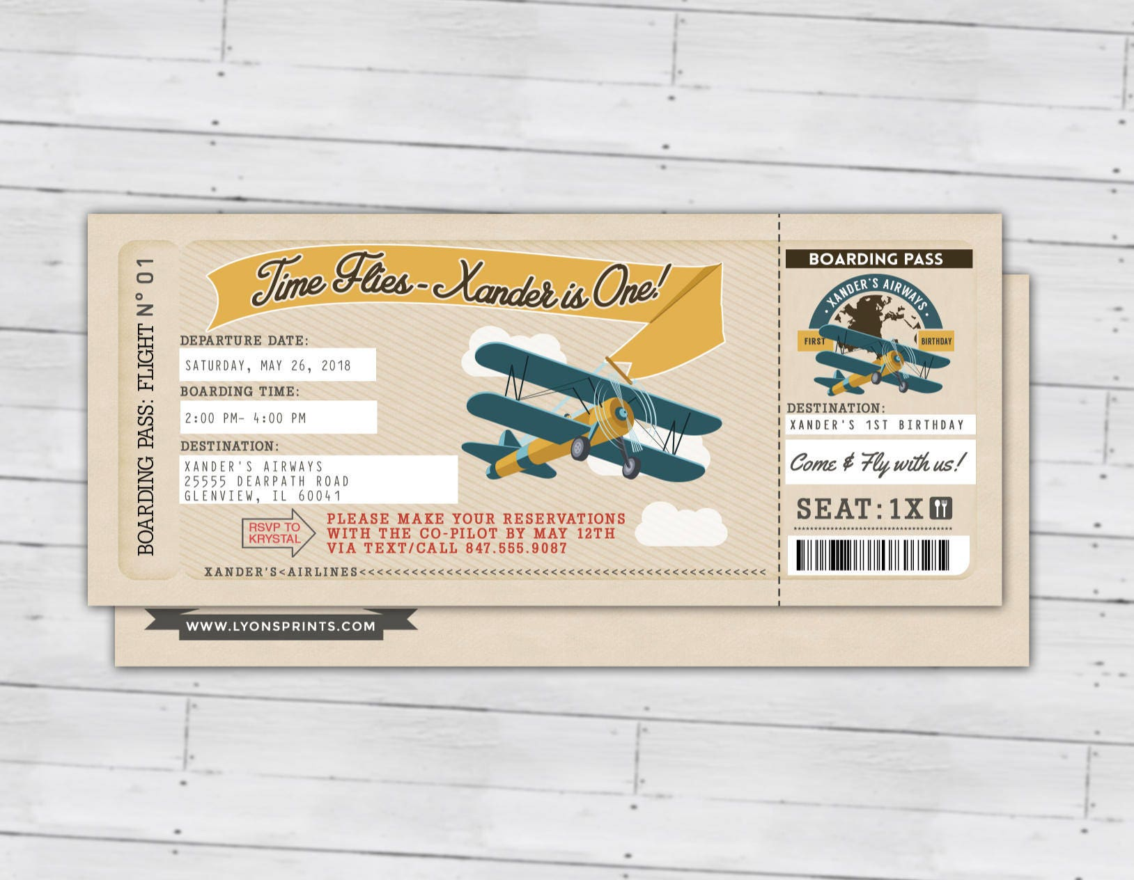 Time Flies, Vintage Airplane Boarding Pass Birthday Invitation ...
