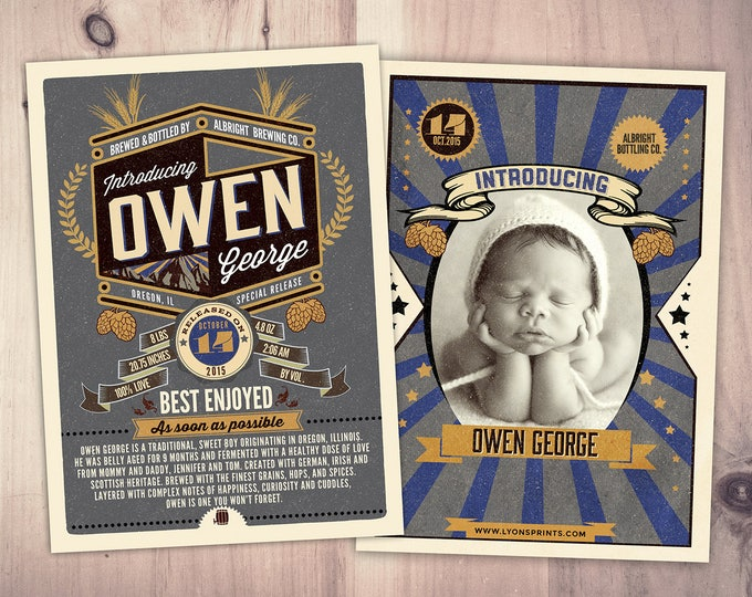 Craft beer baby announcement, baby is brewing, baby shower, birth announcement, baby announcement, beer and BBQ, Digital files only