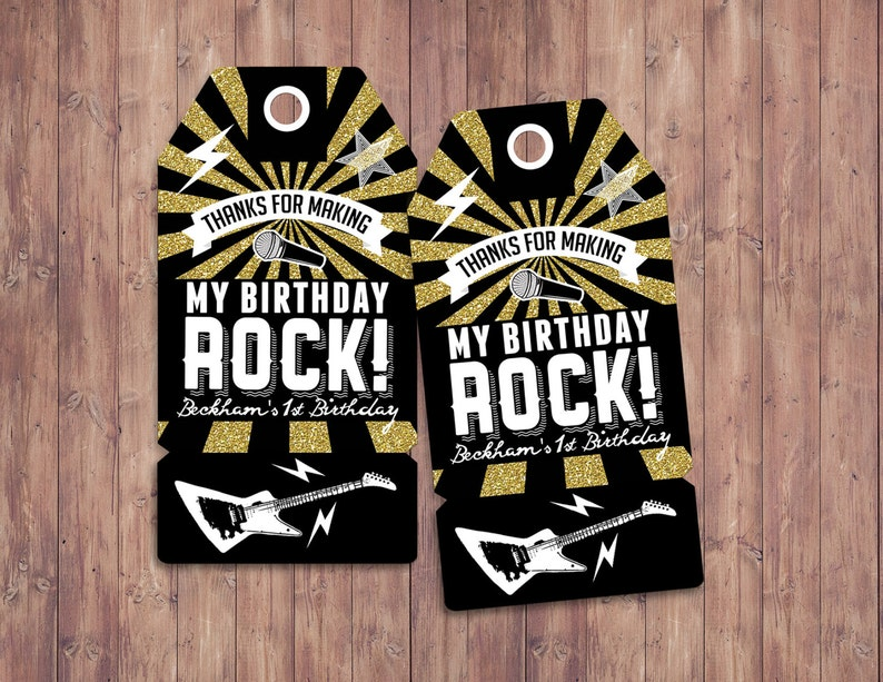 Party favor tag Rock Star birthday favor boy birthday image 0