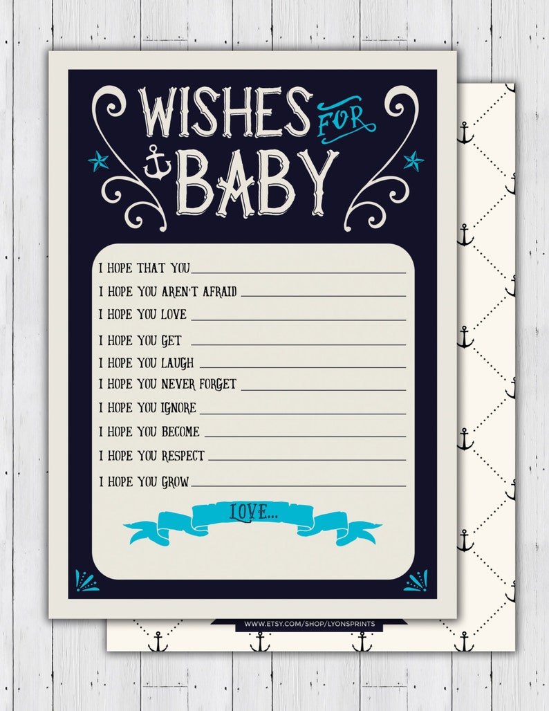 Nautical Baby Shower baby wishes well wishes  Ahoy It's image 0