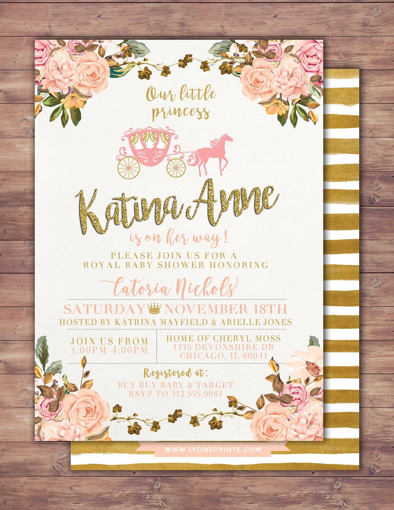 Princess baby shower invitation princess carriage baby shower princess baby shower invite carriage invitation gallery photo gallery photo filmwisefo