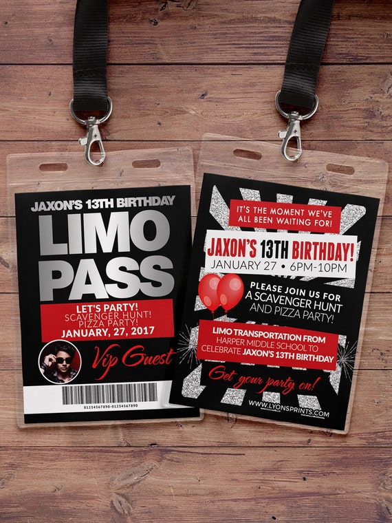 vip pass limo pass birthday party 21st birthday backstage etsy
