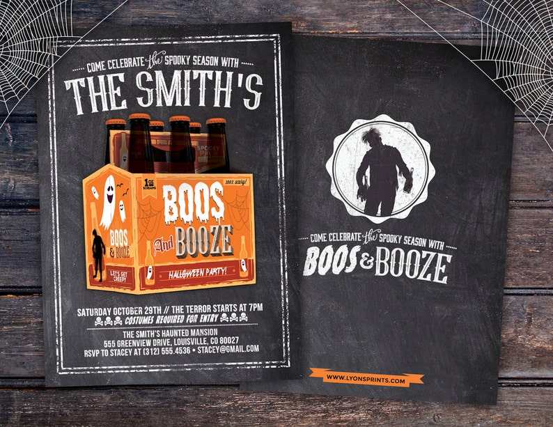 Boos and Booze Halloween invite Halloween party Spooky image 0