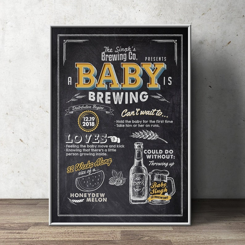 Baby shower stats sign Welcome sign rustic BabyQ beer image 0