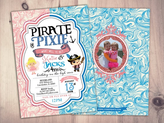 Pirates Princess Pixie Party Invitations Pirate Princess Pixie