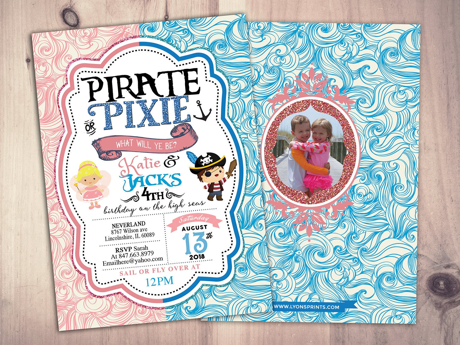 Pirates,Princess, Pixie Party Invitations, Pirate, Princess, Pixie ...