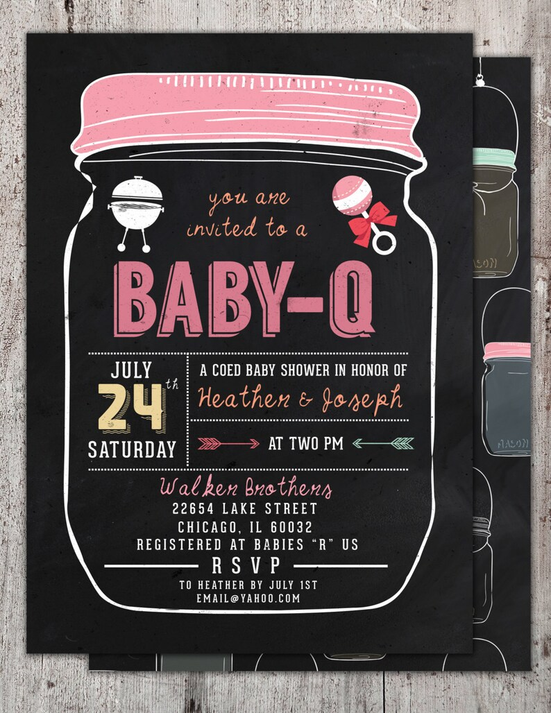 BABY Q Invitation  BabyQ Baby Shower Invitation  Backyard image 0