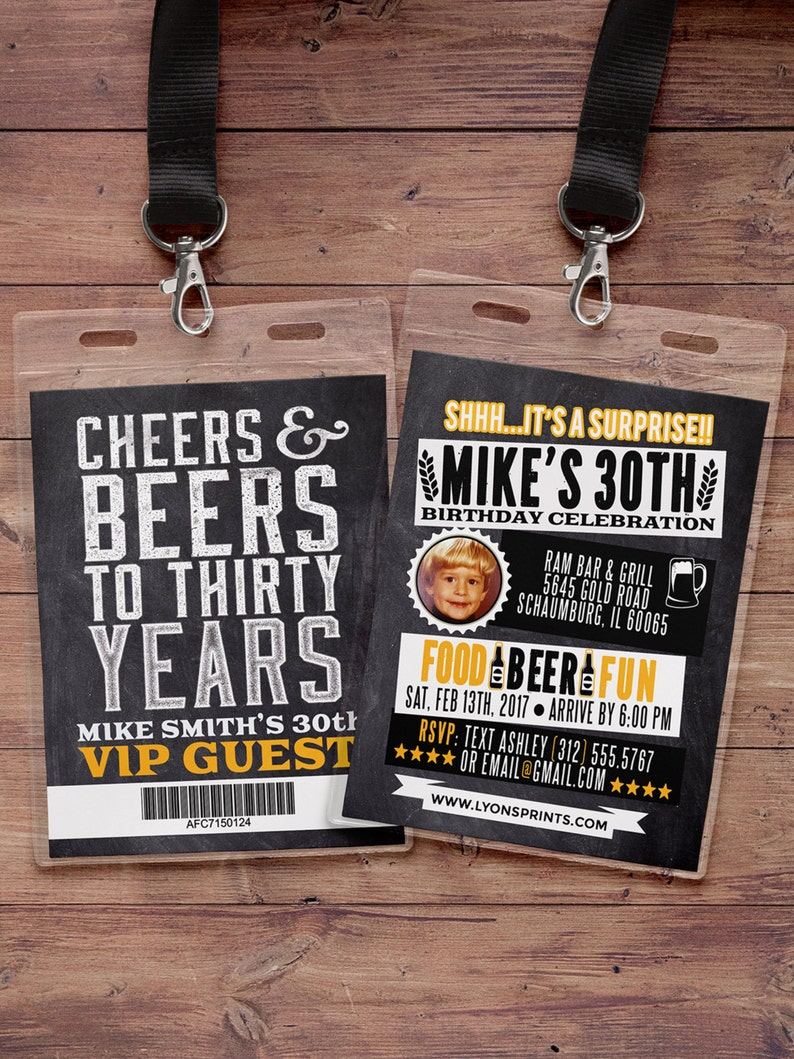 ANY AGE Cheers and Beers invitation beer 21st 30th 40th image 0
