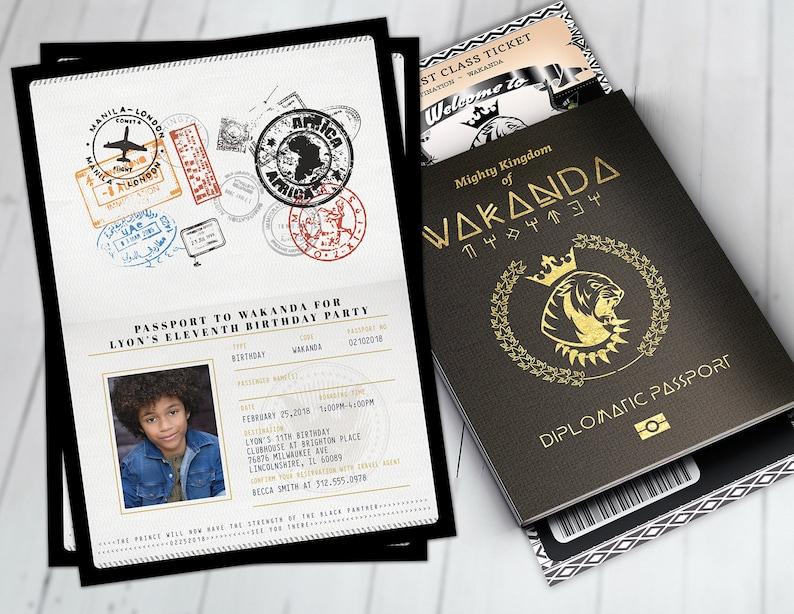 Digital files only Wakanda Panther Africa Passport African Birthday African Birthday PASSPORT and TICKET Birthday invitation