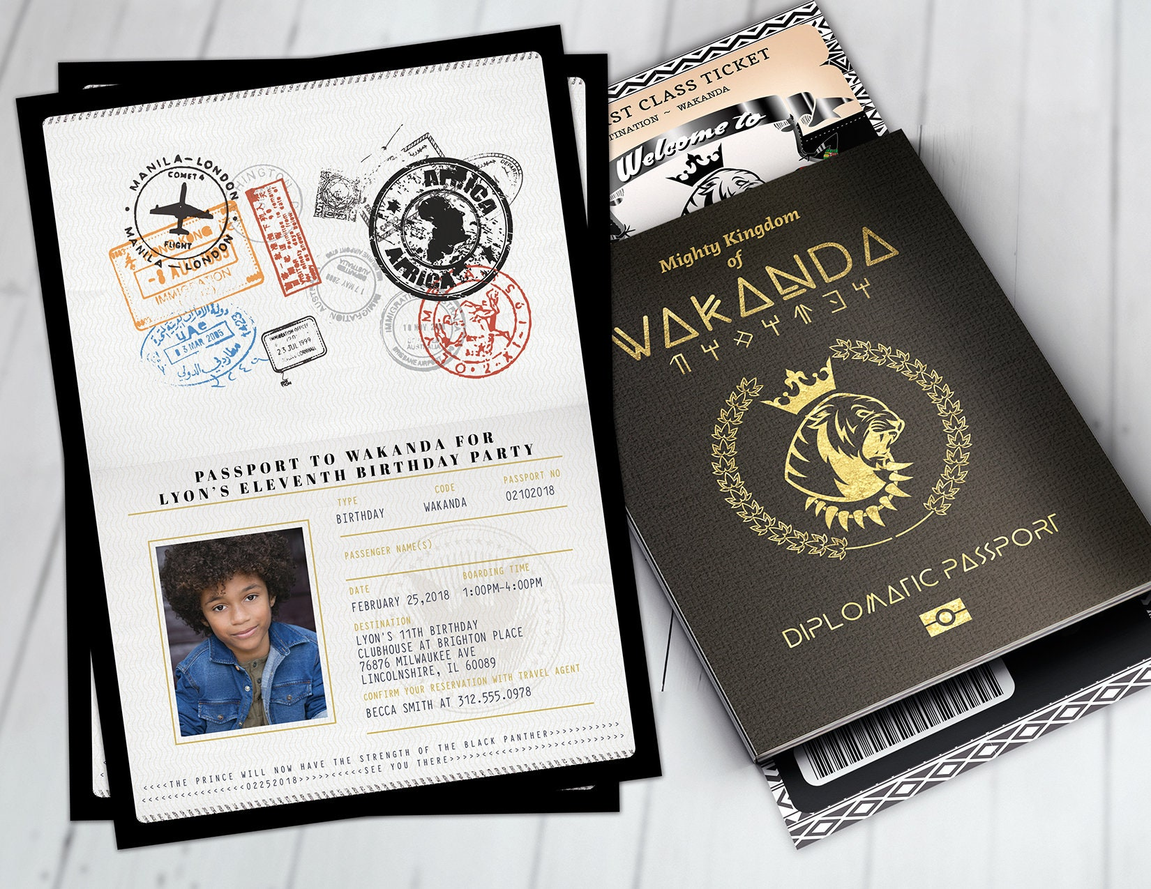 Passport and ticket birthday invitation wakanda africa passport passport and ticket birthday invitation wakanda africa passport african birthday african birthday panther digital files only filmwisefo