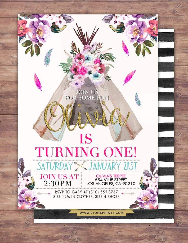TEEPEE Birthday Invitation Aztec Invite