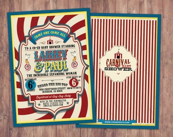 CIRCUS Baby Shower Invitation- Carnival baby shower invitation-Coed baby shower invitation- Animal baby shower invitation-couples shower