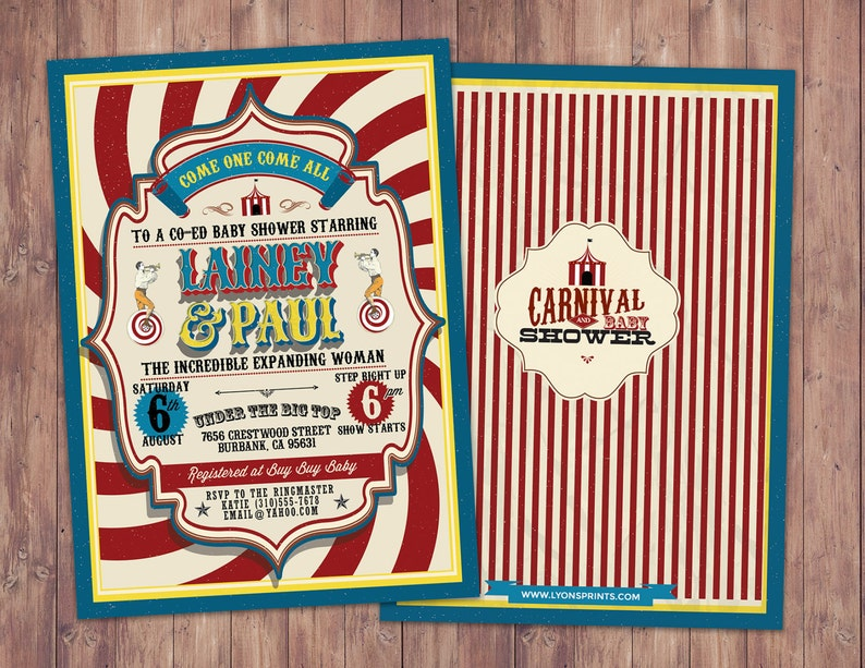 CIRCUS Baby Shower Invitation Carnival baby shower image 0
