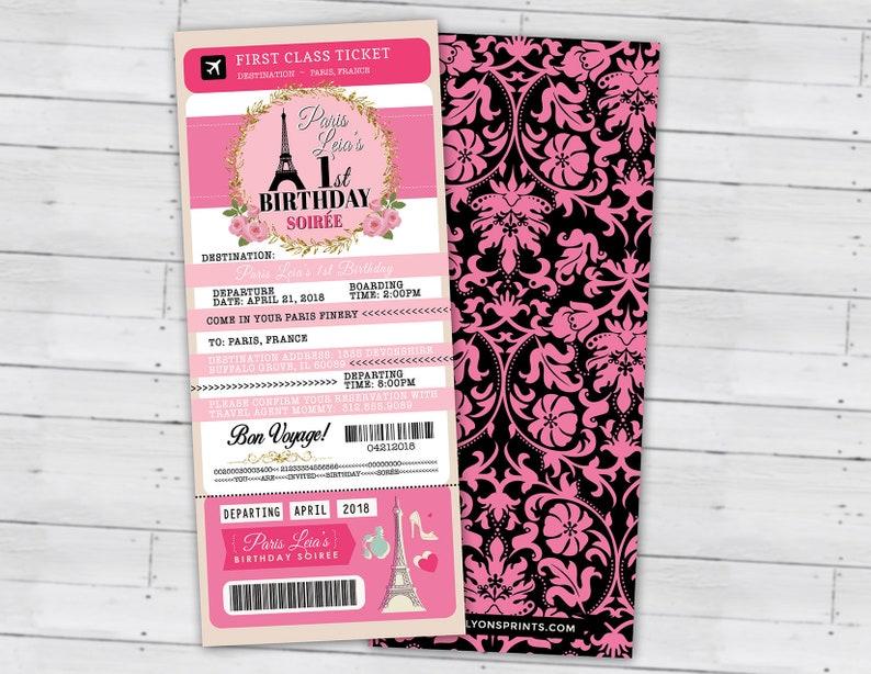 PASSPORT and TICKET birthday invitation Girl's birthday Lace Pattern