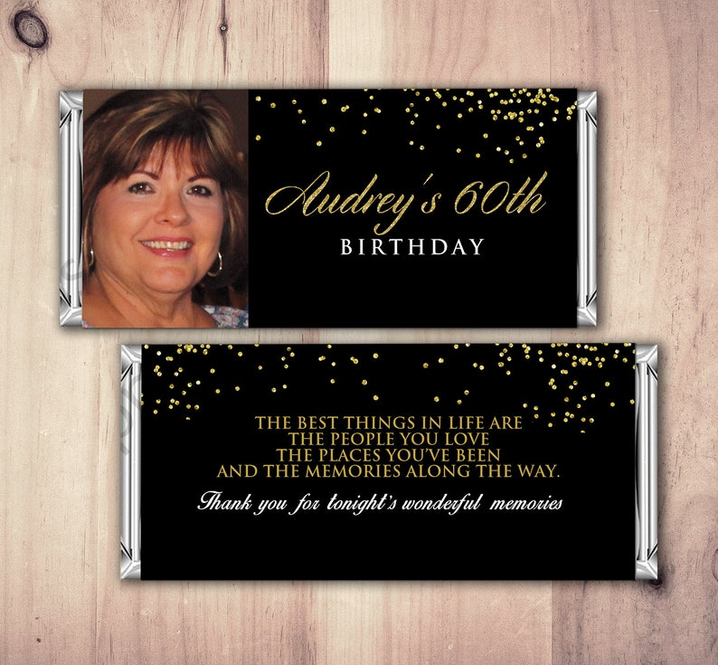 Birthday Candy Bar Wrappers  Gold Silver Adult Milestone SAMPLE OPTION 1