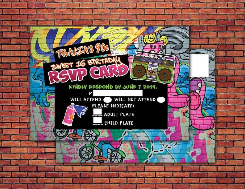 Hip Hop RSVP card Graffiti throwback party sweet 16 Fresh image 0