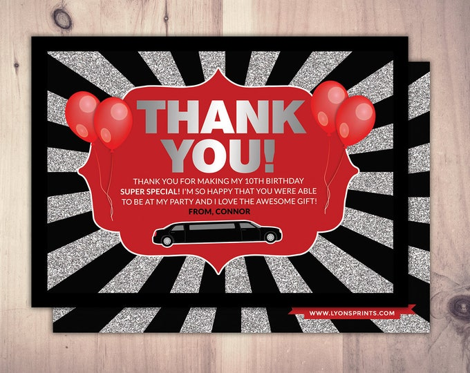 Thank you card, Limo pass, Birthday party, 21st birthday, backstage pass, cocktail party, birthday, wedding, bachelor, party bus, glitter
