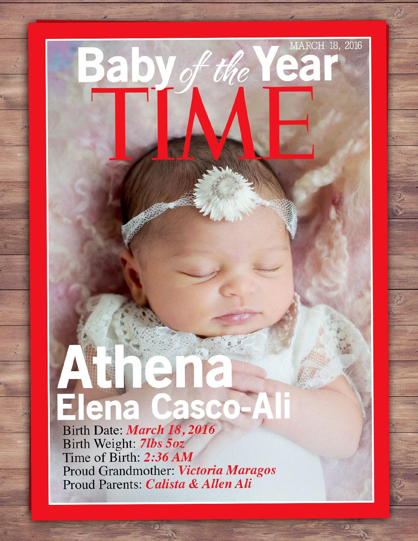 MAGAZINE cover birth announcement, baby announcement, wedding, gift ...