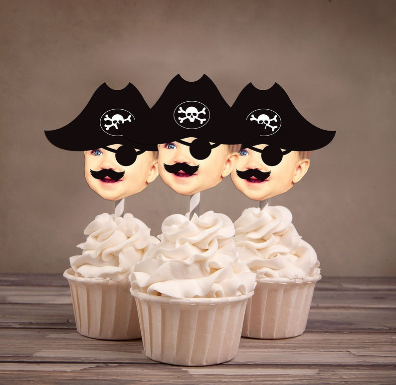 Photo Cupcake Toppers pirate Hat Design Digital File  image 0
