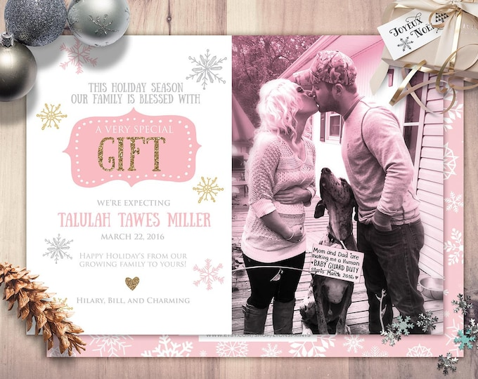 holiday baby, gift, birth announcement, baby,, baby shower, new baby, baby announcement, holidays, greeting card, baby girl, baby boy,