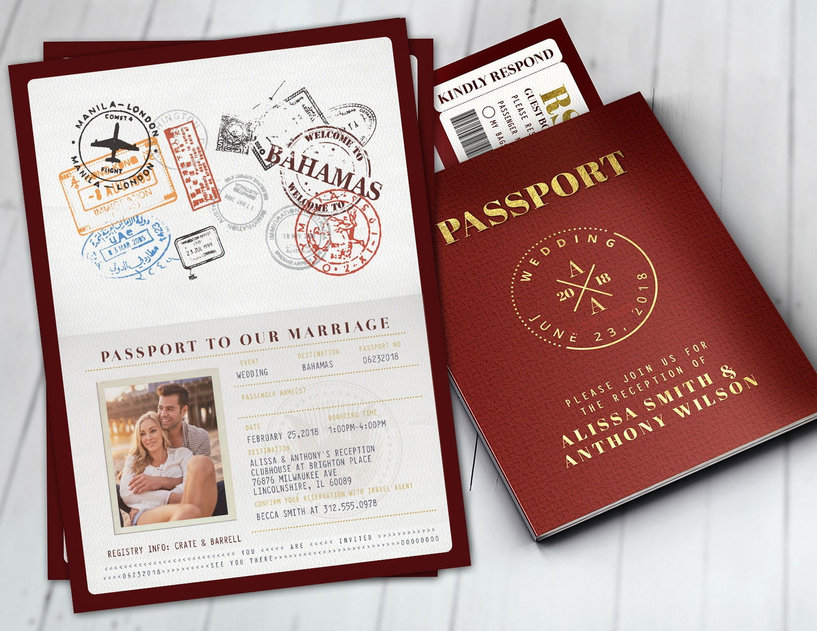 Wedding passport invitation, couples shower, wedding shower, travel ...