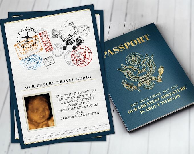 Passport pregnancy announcement, birth announcement, travel baby announcement, baby boy, baby girl, baby shower, pregnant, expecting