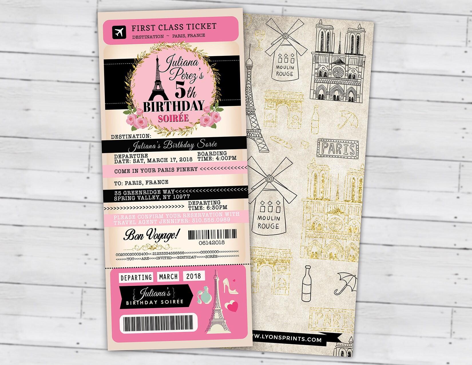 PASSPORT and TICKET birthday invitation! Girl\'s birthday party ...