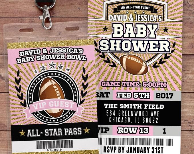 Football ticket Invitation, Baby Shower, All Star Birthday, VIP pass,, Super Bowl, sports birthday, Bar Mitzvah, football, Gender Reveal