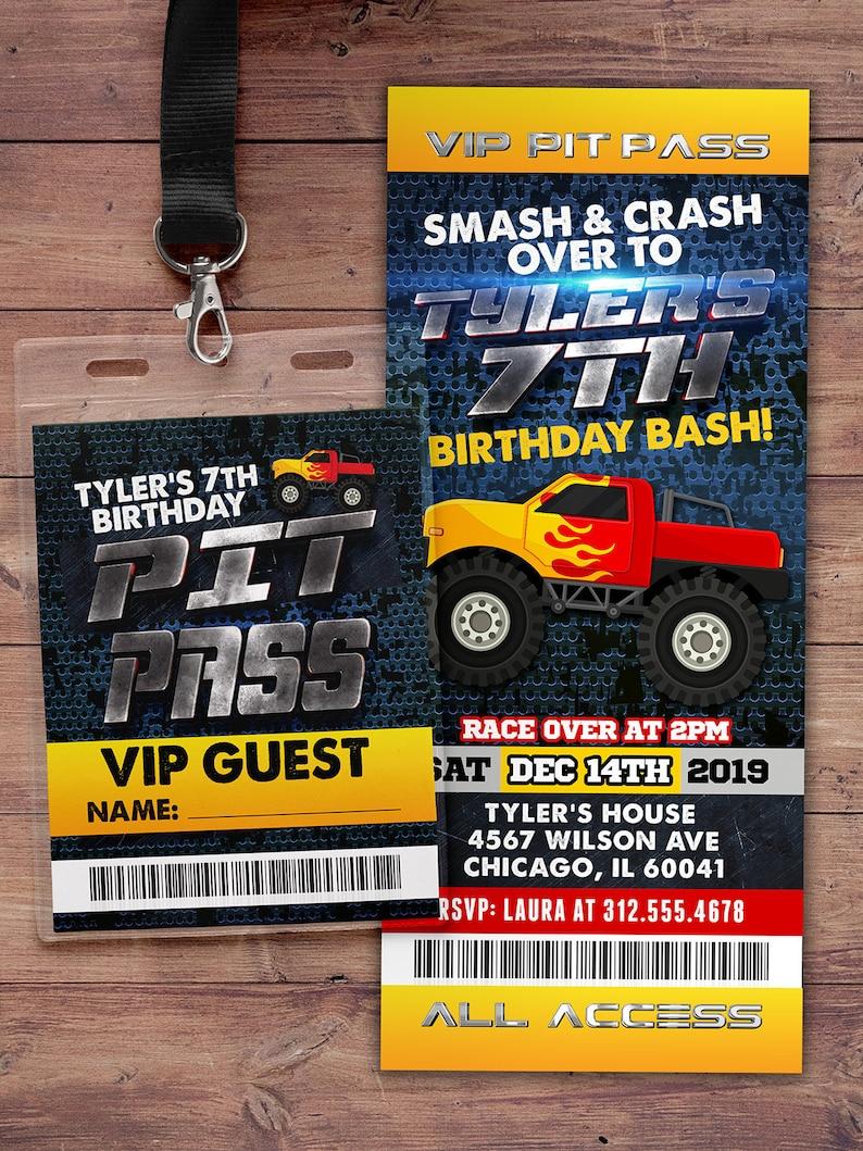 Monster Truck Birthday Party Invitation  Monster Truck image 0