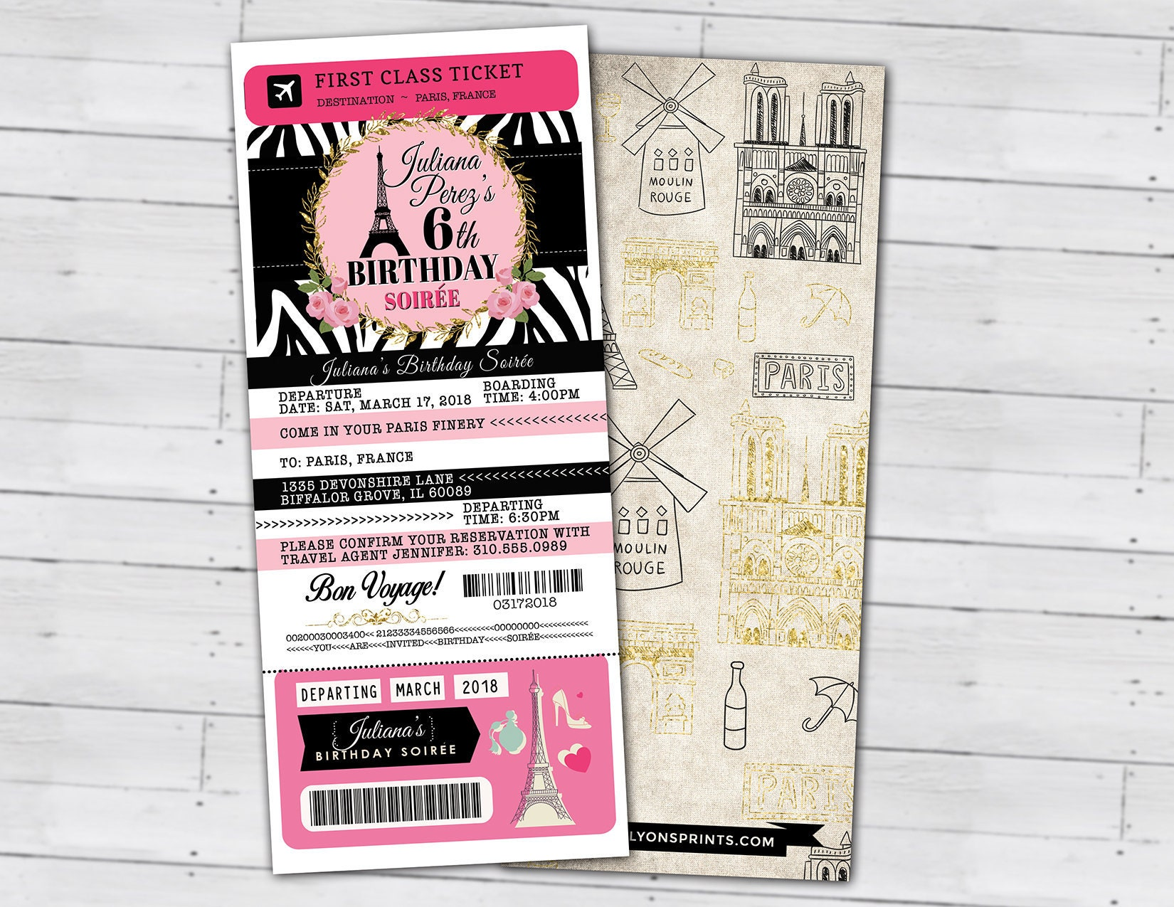 Passport and ticket birthday invitation girls birthday party passport and ticket birthday invitation girls birthday party travel birthday party invitation paris eiffel tower digital files only filmwisefo