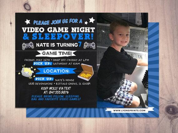 Sleepover Party Invitation Boy Birthday Invitations Super Hero Comic XBOX Video Game