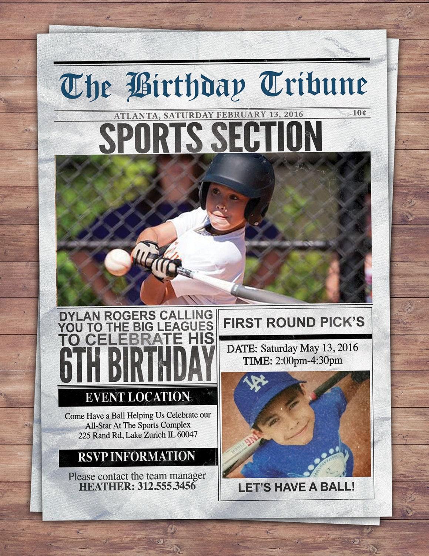 Vintage Baseball Birthday Invitation All Star Little Slugger Baby