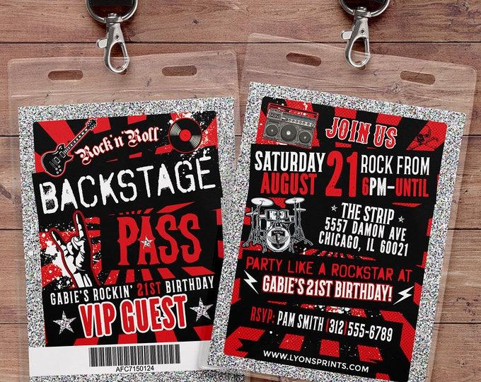 Punk Rock, VIP PASS, backstage pass, Vip invitation, birthday, pop star, rock star birthday, roller-skate party VIP, 80s, Digital files