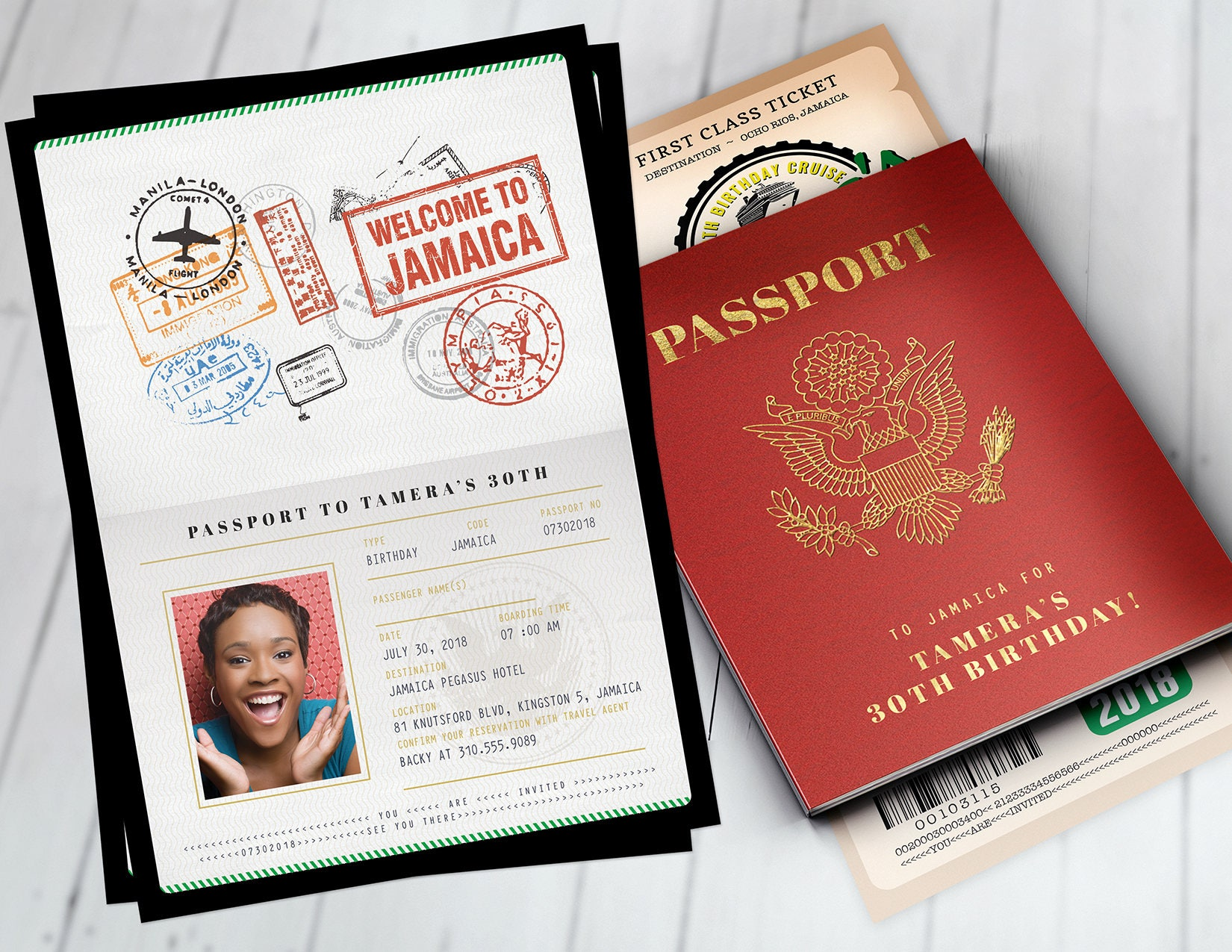 PASSPORT and TICKET birthday invitation travel birthday party | Etsy