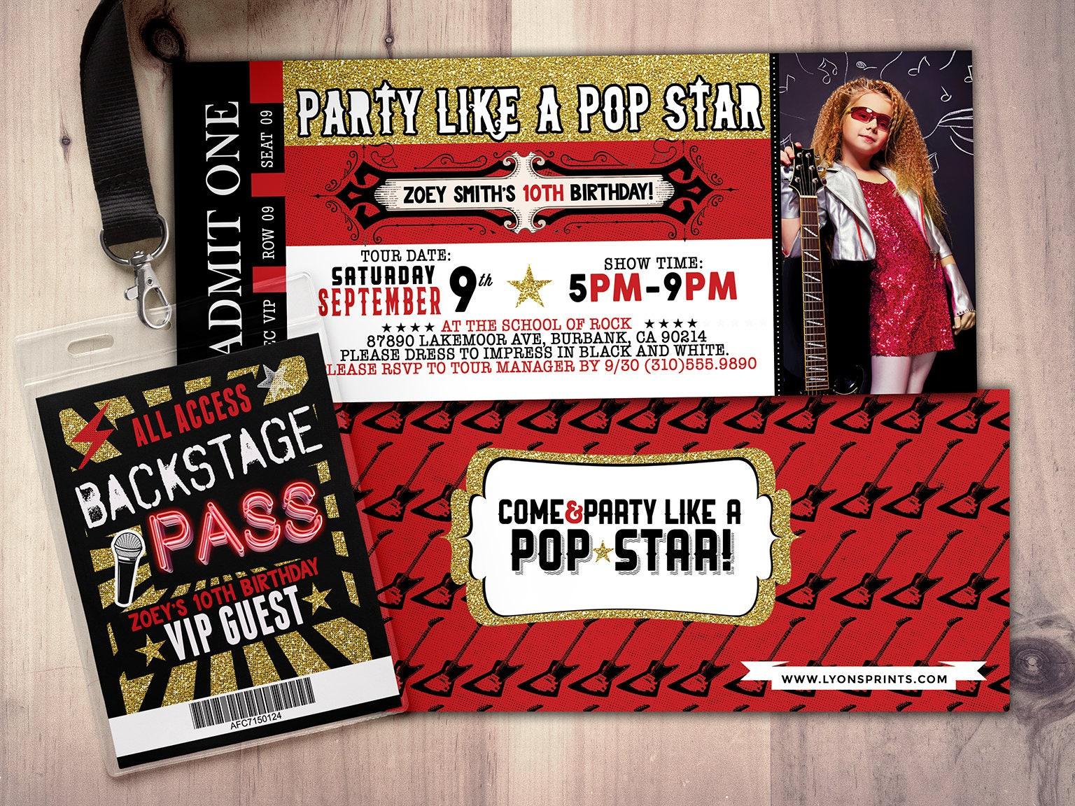 ROCK STAR concert ticket birthday party invitation- Music invitation ...
