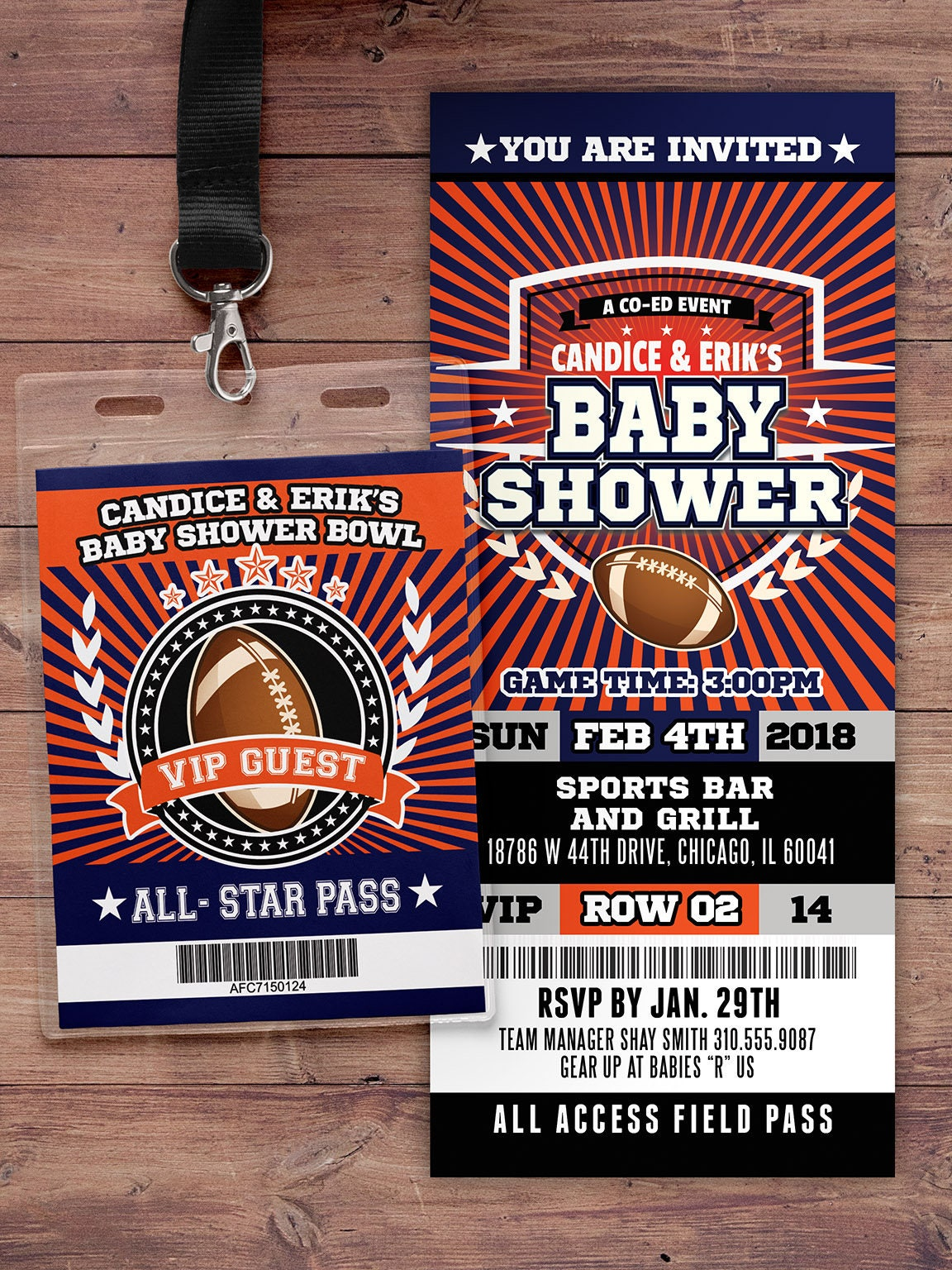 Football ticket Invitation, Baby Shower, All Star Birthday, VIP pass ...