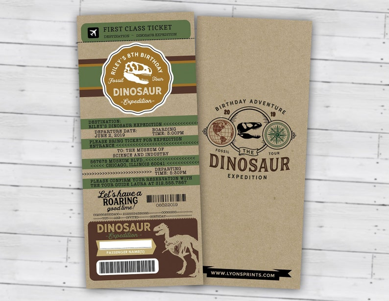 Dinosaur Dig Party Invitation Dinosaur Birthday Invitation Ticket Only